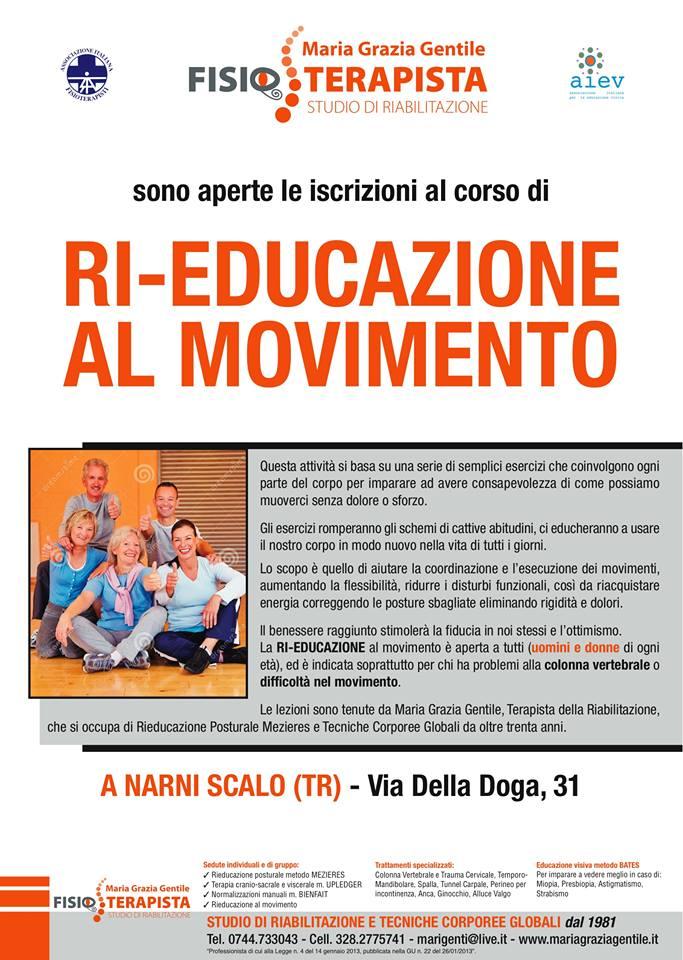 INIZIO CORSI DI RI-EDUCAZIONE AL MOVIMENTO ANNO  2020 - 2021